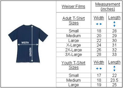 Fiddle T-Shirt Size and Measurement Chart